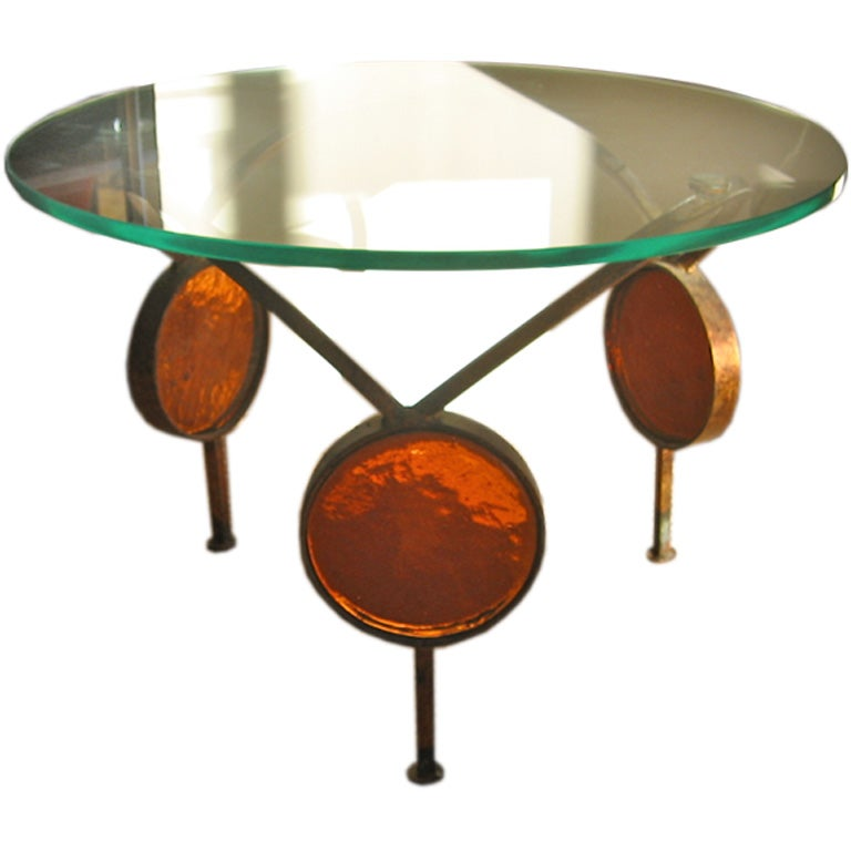 Unique italian iron and glass cocktail table at 1stdibs for Unusual cocktail tables