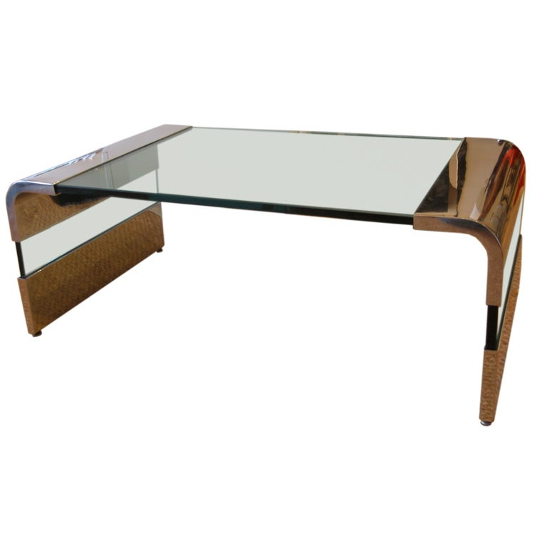 Chrome And Glass Waterfall Cocktail Table By Pace At 1stdibs