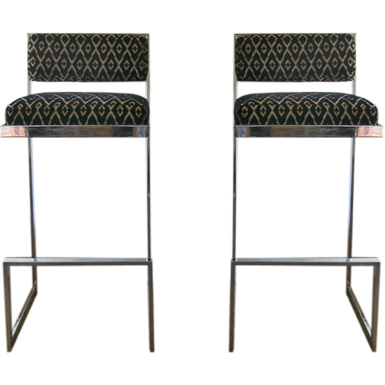 Pair Of Chrome And Upholstered Bar Stools At 1stdibs