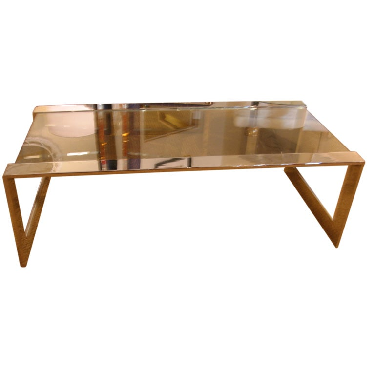 High polished steel and glass pace cocktail table at 1stdibs for Cocktail tables high