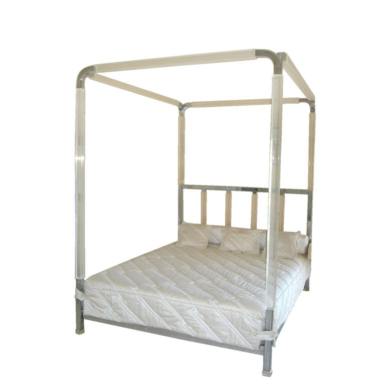 rare charles hollis jones chrome and lucite bed at 1stdibs