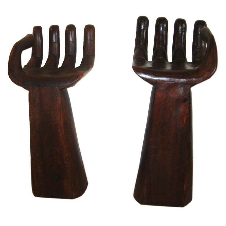 Pair Of Hand Seats In The Style Of Jean Royere At 1stdibs
