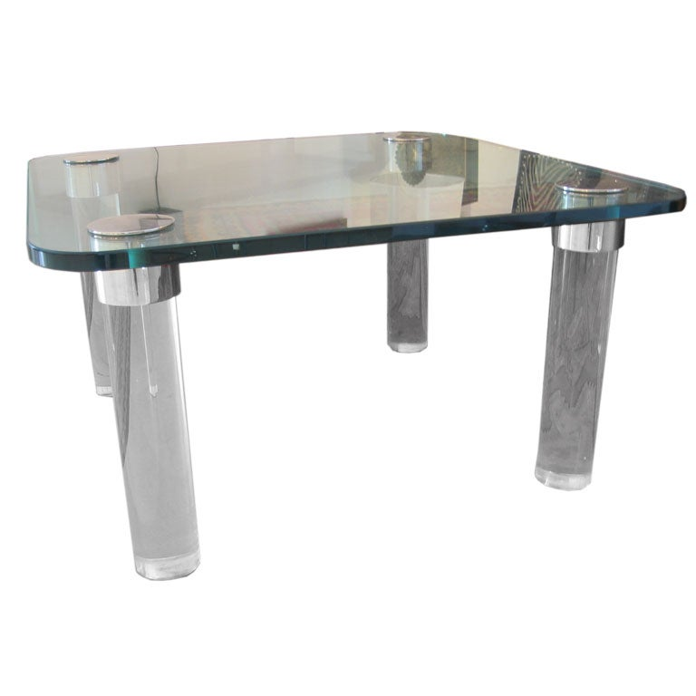 Lucite And Glass Cocktail Table At 1stdibs