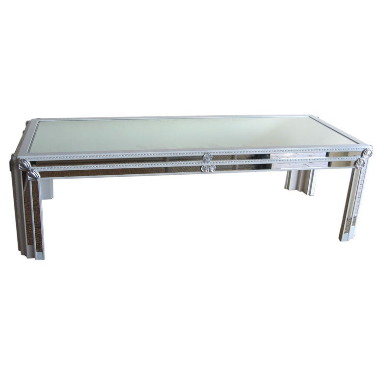White lacquer and mirror cocktail table for sale at 1stdibs for Lacquer coffee table
