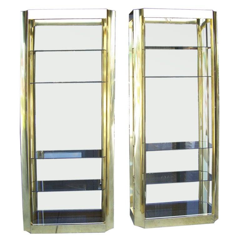 Pair of gold finish aluminum etageres at 1stdibs - Etagere aluminium design ...