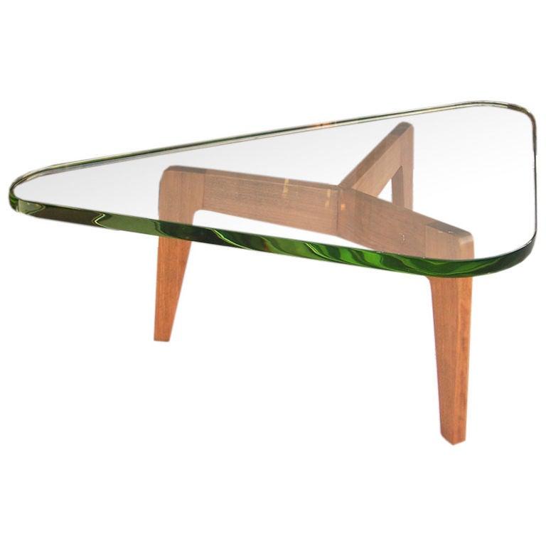 Tripod Coffee Table W Thick Triangular Glass At 1stdibs