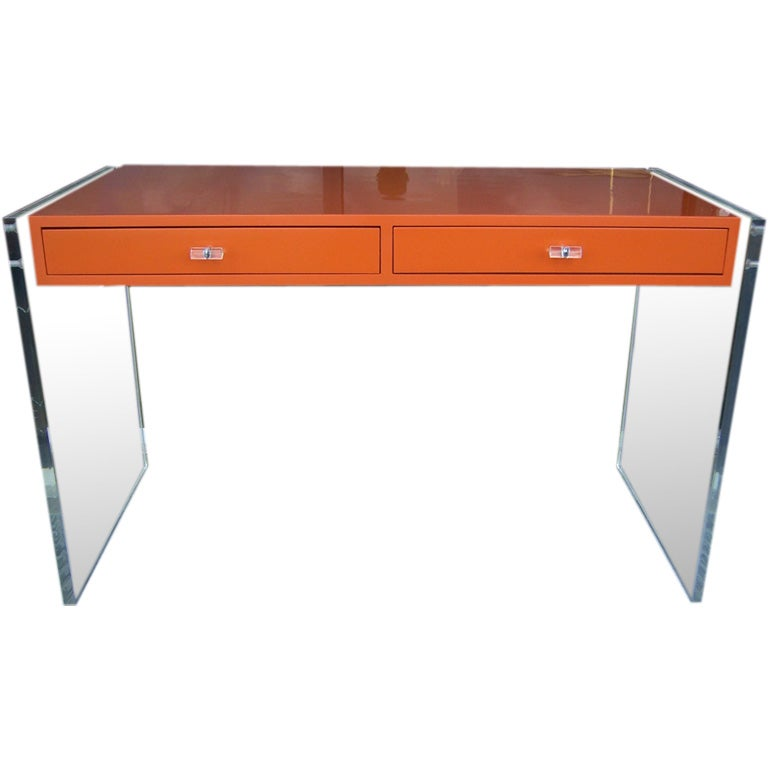 An Hermes Orange Lacquered Desk With Lucite At 1stdibs