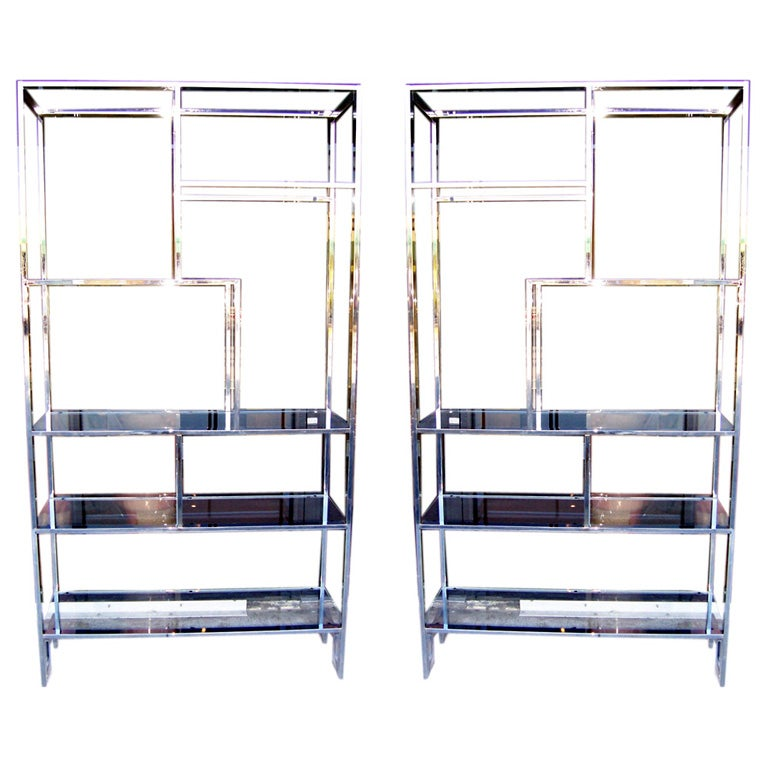 Pair of milo baughman glass and chrome etageres at 1stdibs - Etagere cases carrees ...