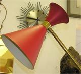 Mid-Century Modern Italian Red Stilnovo Cone Floor Lamp For Sale