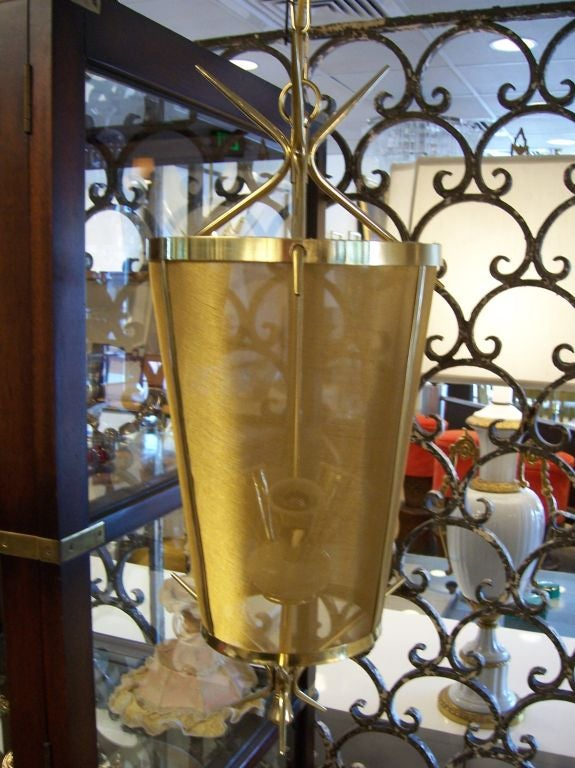 Italian Petite Brass Lantern Hanging Light In Good Condition For Sale In East Hampton, NY