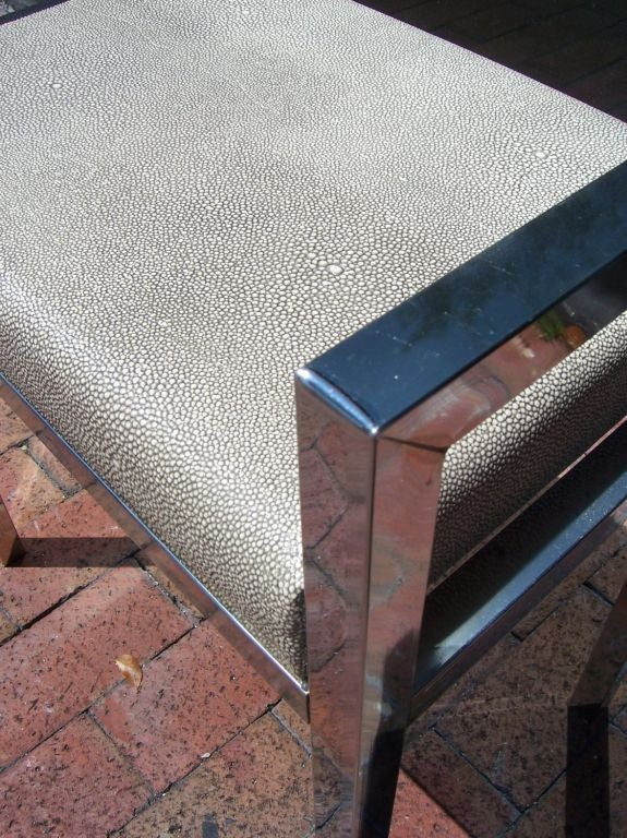Petite Chrome Bench With Faux Shagreen Leather At 1stdibs