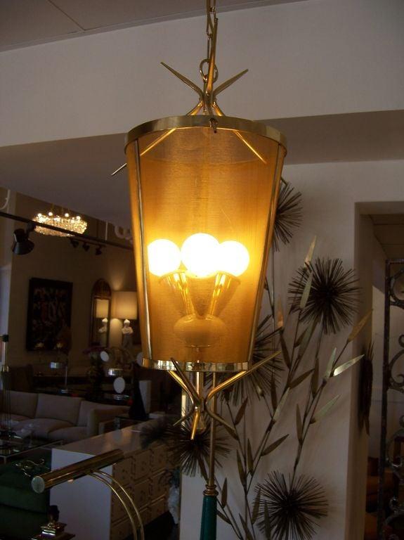 Mid-20th Century Italian Petite Brass Lantern Hanging Light For Sale