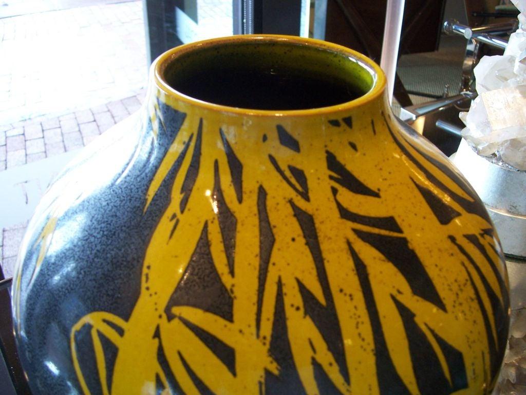 Mid-Century Modern Glazed Terracotta Over-Sized Vase For Sale