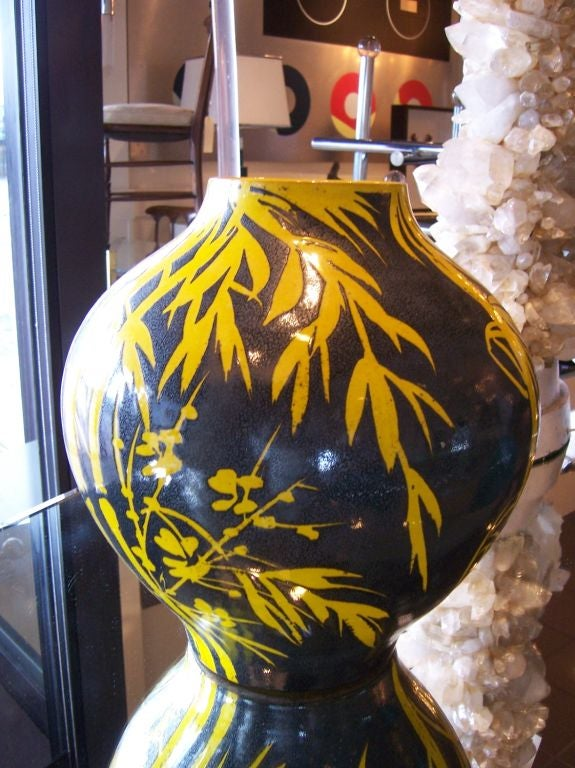 Glazed Terracotta Over-Sized Vase In Good Condition For Sale In East Hampton, NY