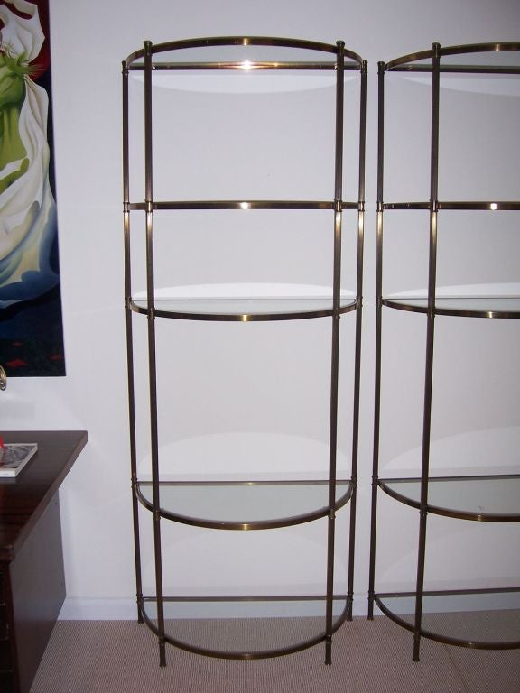 a pair of brass demi lune etageres at 1stdibs. Black Bedroom Furniture Sets. Home Design Ideas