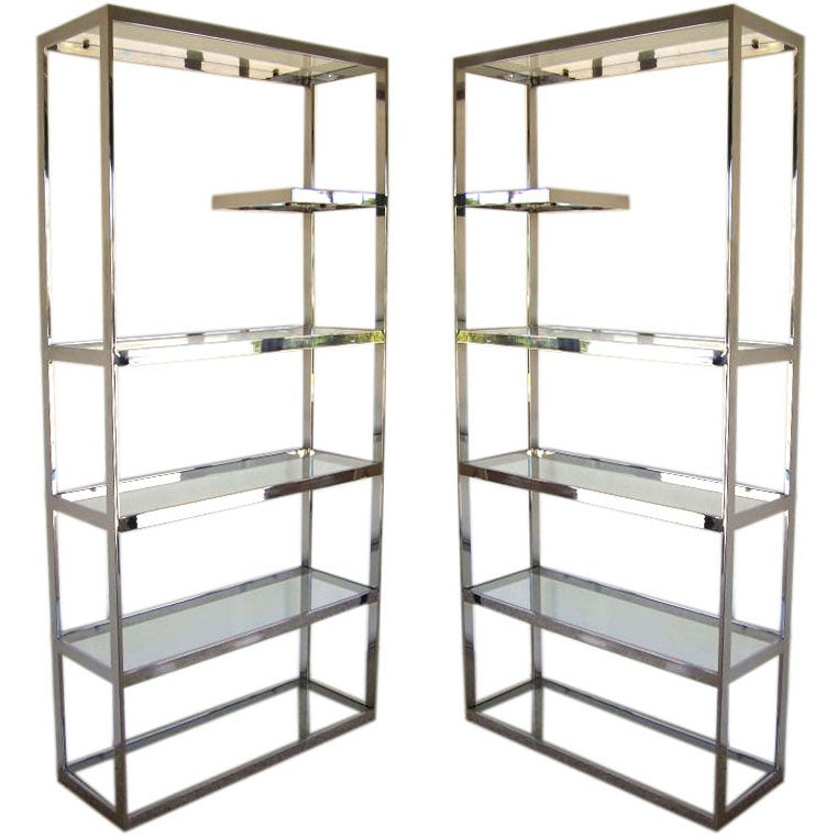 Pair of milo baughman chrome etageres at 1stdibs - Etagere cases carrees ...