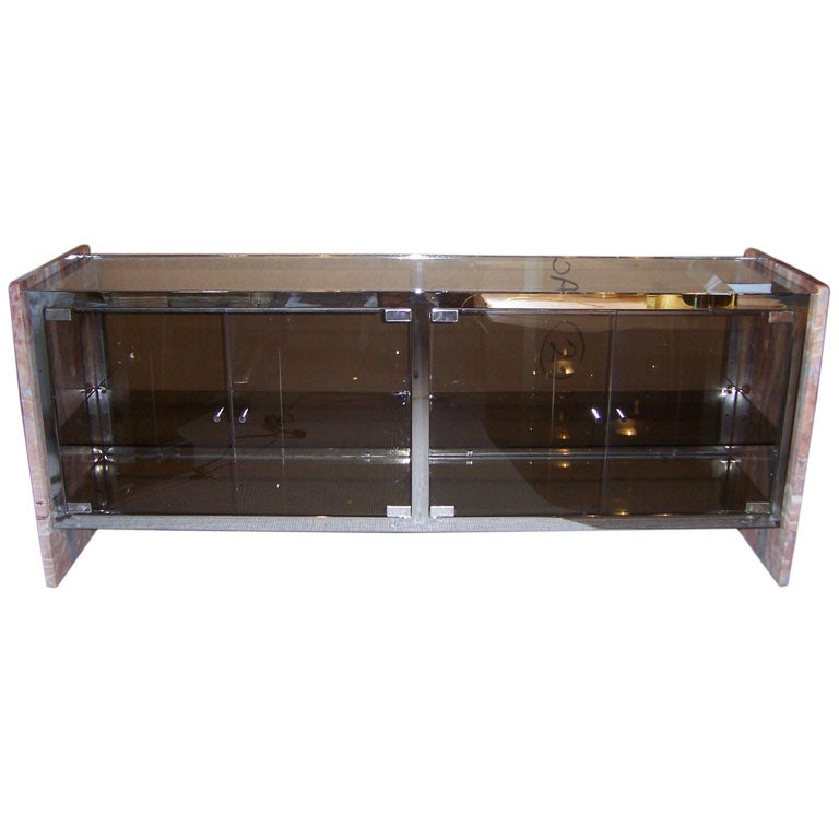 A marble chrome and glass vitrine sideboard at 1stdibs for Sideboard und vitrine