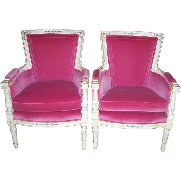 A Pair of Hollywood Regency Armchairs in HOT PINK For Sale