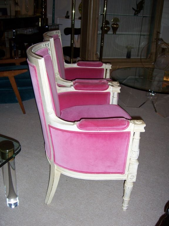 These fantastically chic armchairs are a custom design by Lewis Mittman Co. for The Weissman family of New York City (see label).  ALL original (upholstery and finish) and in very good shape.  French style with excellent detail work - very