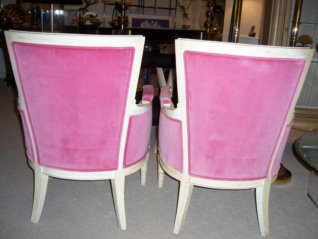 A Pair of Hollywood Regency Armchairs in HOT PINK For Sale 2