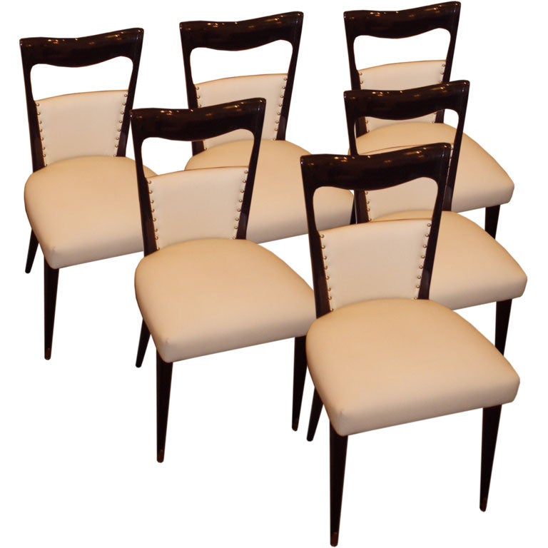 Set Of Six Modernist Dining Chairs In Black Lacquer And