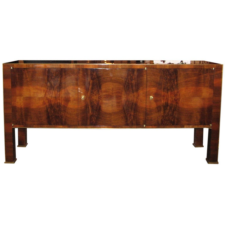 An art deco console in burl walnut by josef decoene at 1stdibs for Sideboard lindholm