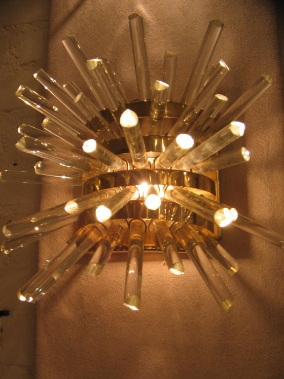 A Set of Three Fabulous Brass and Crystal Wall Sconces at 1stdibs