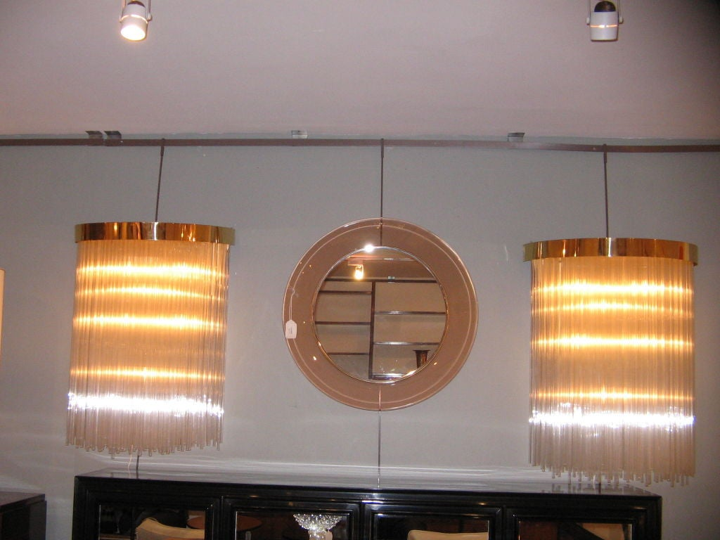 A Pair of Large Scale Glass Rod Wall Sconces at 1stdibs