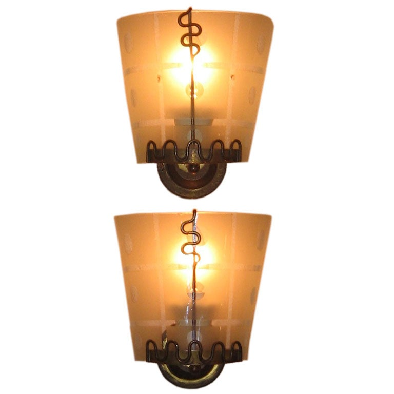 Etched Glass Wall Lights : A Pair of Mid Century Brass and Etched Glass Wall Sconces For Sale at 1stdibs