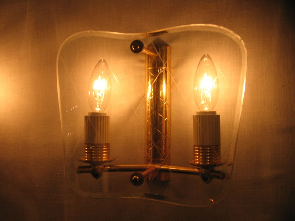 Etched Glass Wall Lights : A Pair of Gilt Brass and Etched Glass Wall Sconces at 1stdibs