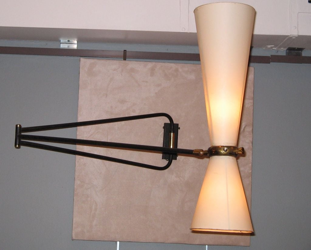 a swing arm wall mounted lamp attr to pierre guariche for sale at 1stdibs. Black Bedroom Furniture Sets. Home Design Ideas
