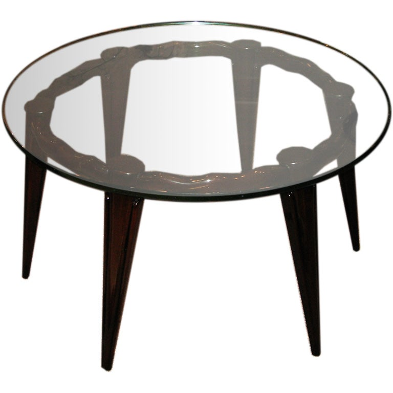 Fontana Arte Large Round Cocktail Table In Mahogany And Glass At 1stdibs