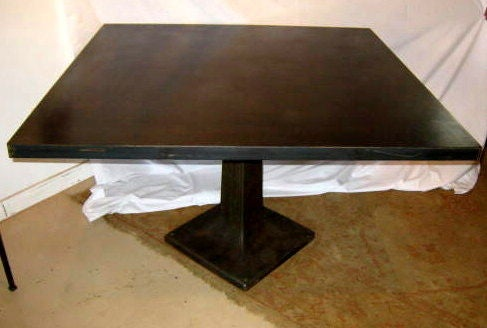Square industrial dining table at 1stdibs for Square industrial dining table