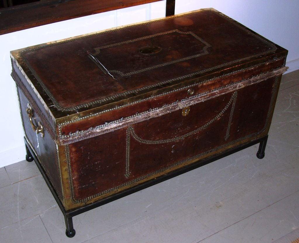 Leather storage chest coffee table at 1stdibs Coffee table chest with storage