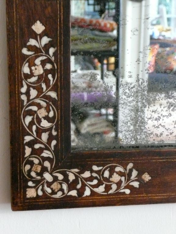 Mirror With Syrian Wood And Bone Inlay Frame At 1stdibs