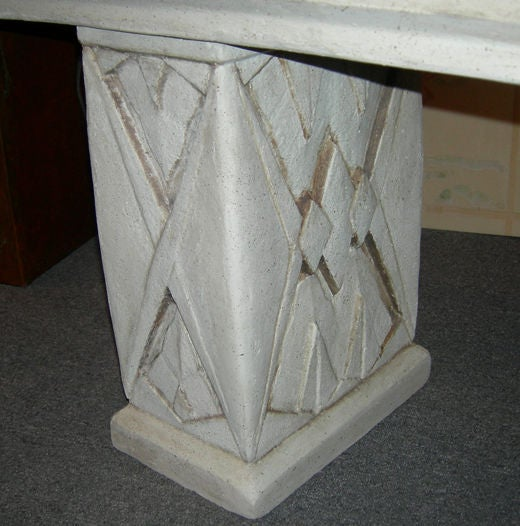 Art Deco Patterned Concrete Planter At 1stdibs