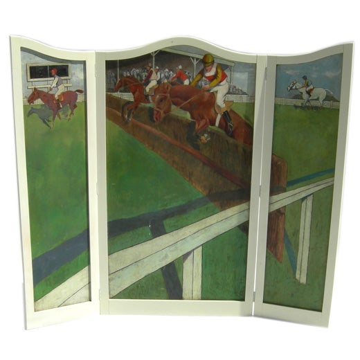 Hand Painted Equestrian Themed Screen At 1stdibs