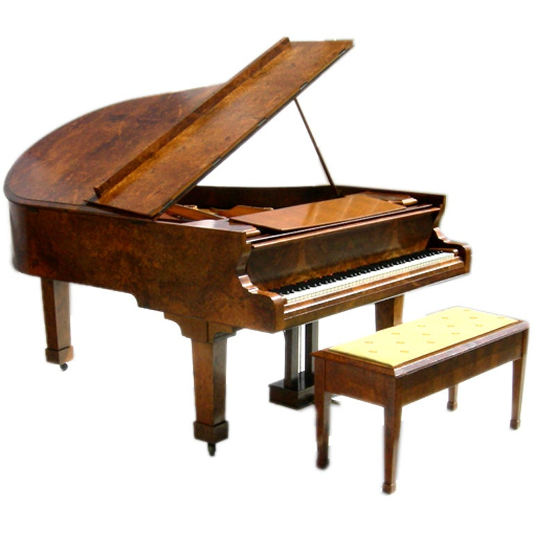 Incredibly Burled Wood Baby Grand Piano By Schiedmayer At
