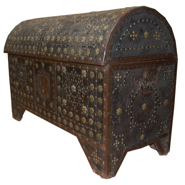 Gothic spanish baroque leather coffer at 1stdibs for Spanish baroque furniture