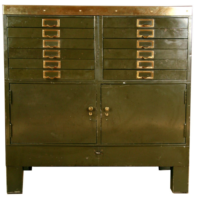 Vintage Industrial Metal And Brass Storage Cabinet At 1stdibs
