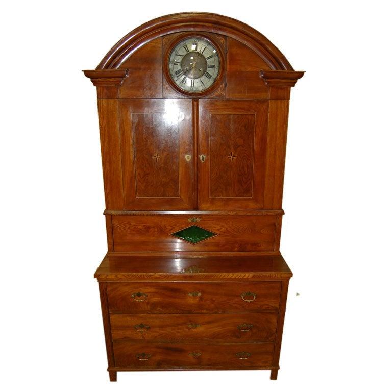 Cabinet with Clock Biedermeier Elm circa 1825 For Sale at 1stdibs