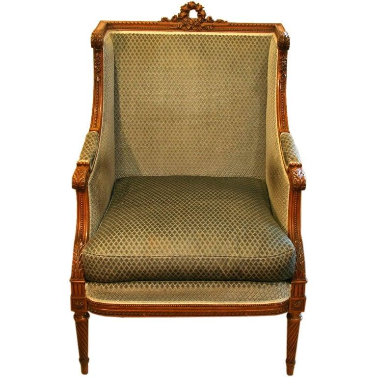 19th c walnut bergere wing chair louis xvi stlye at 1stdibs