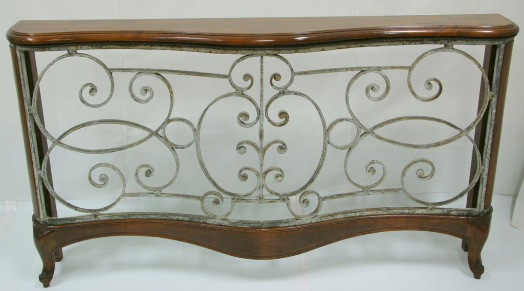 Early 19th century french wrought iron balcony made into for Balcony console