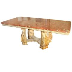 Fabulous 19th C. Italian Table With Rare Marble Top