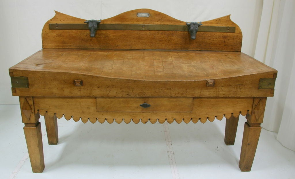 19th Century French Butcher Block Table At 1stdibs