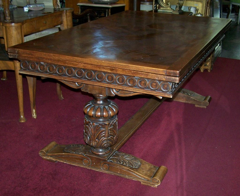 Large Oak English Jacobean Style Draw Leaf Dining Table At