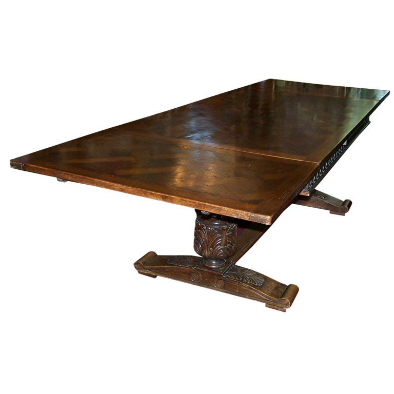 Large oak english jacobean style draw leaf dining table at for Large kitchen tables with leaves