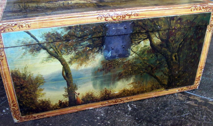 An unusual and larger size Chinese Export pigskin trunk with beautifully hand painted European pastoral scenes in the Barbizon style.
