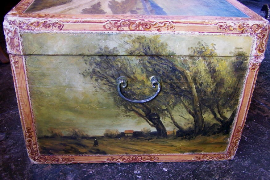 Hand-Painted Hand Painted Chinese Export Trunk with European Landscape Scenes, 19th Century For Sale
