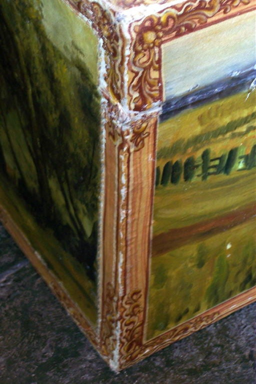 Leather Hand Painted Chinese Export Trunk with European Landscape Scenes, 19th Century For Sale